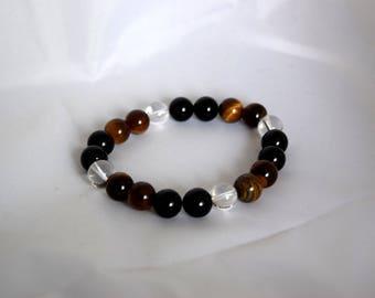 Brown Tiger eye and rock crystal Beads Bracelet