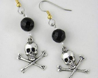Skull and swarovski crystal earrings Valentine's day
