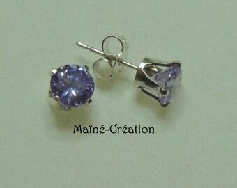 925 sterling silver with purple cubic zirconia CZ earrings