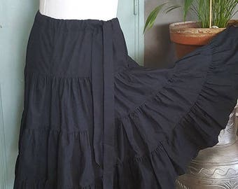 Mid long ruffled cotton SKIRT. HAND MADE.
