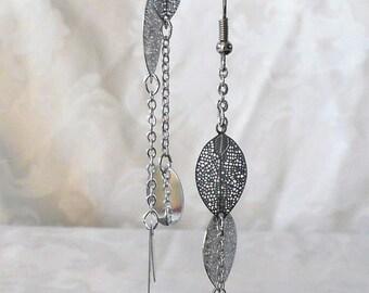Silver leaf 10.2 cm earrings