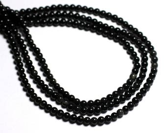 30pc - stone beads - black Obsidian Rainbow balls 4mm - 8741140000810