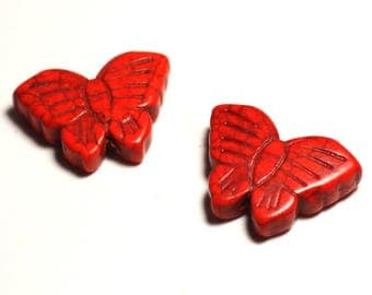 2PC - butterflies Orange 4558550029447 26mm synthetic Turquoise beads