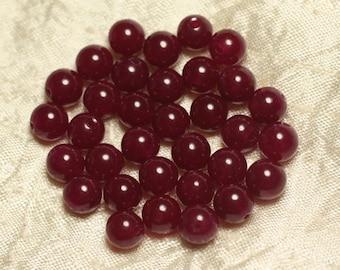 Stone - beads 10pc - raspberry Jade balls 8mm 4558550022103