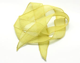 1pc - dyed silk ribbon necklace to 85 x 2.5 cm yellow (ref SOIE113) 4558550003386