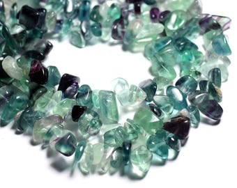 30pc - stone beads multicolor Fluorite - chips 6-18mm seed beads - 4558550089212