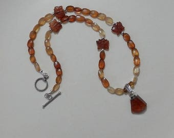 Ethera palmtree hessonite Garnet necklace