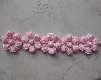 Spring bracelet,crochet flowers