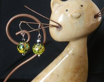 Yellow Crackle earrings