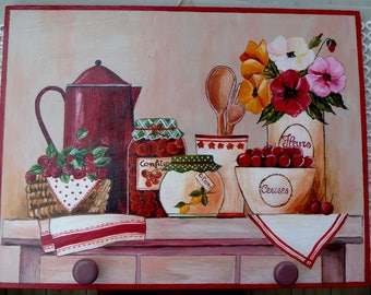 Hand-painted wooden plaque cherries and raspberries with knobs for kitchen