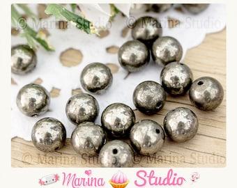 pyrite natural 8mm - round beads 10 beads