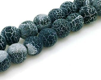 Synthetic agate beads dragon vein matte black 6mm