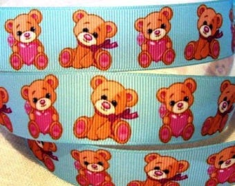 Printed grosgrain Ribbon * 25 mm * bear plush blue heart - sold by the yard