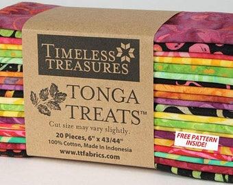 "Tonga Treats Neon batiks 20 6""x43"" strips"