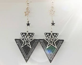Black and Silver Star Stud Earrings