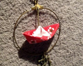Long necklace with boat origami