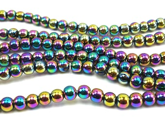 70 metallic 4 mm teal glass beads