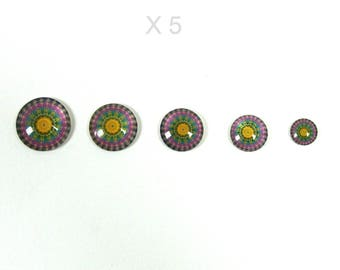 X 5 pieces pictured pink and blue glass cabochons