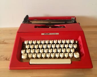 Red Olivetti College Typewriter // Vintage Typewriter // Mid Century Modern