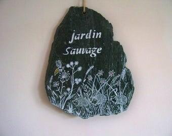 "Slate sign-sign-decoration - garden decor-""wild garden"""