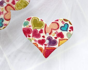 button wood colored heart