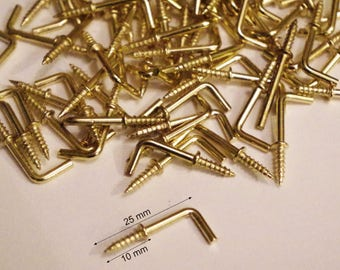 Lot 10 hinges Pitons screw fixing clip for mirror, frame, frame, Crochet curtains 25 mm