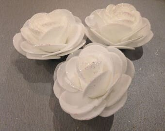 Set of 3 applique flowers 6 cm