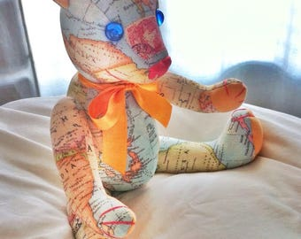 Teddy bear baby world map