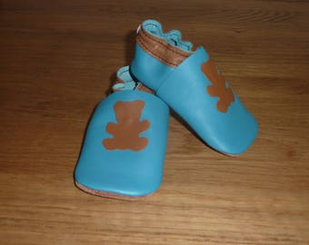 Blue and Brown Baby booties