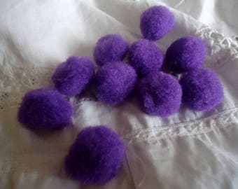 Set of 10 pom poms 2 CM plush purple for your jewelry and other creations