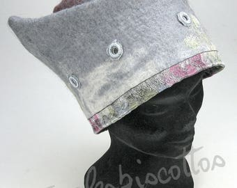Red, white and Grey Hat or original felted wool hat