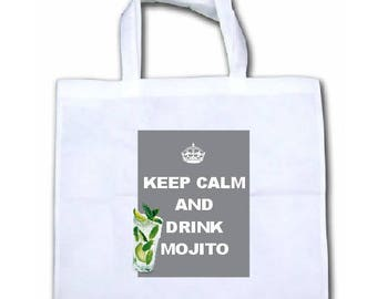 "CANVAS TOTE BAG NONWOVEN ""KEEP CALM AND DRINK MOJITO"""