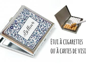 CIGARETTE or card case personalized - liberty blue