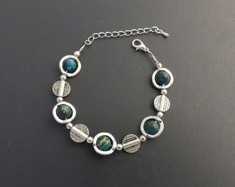 MOSS agate and silver metal, adjustable bracelet