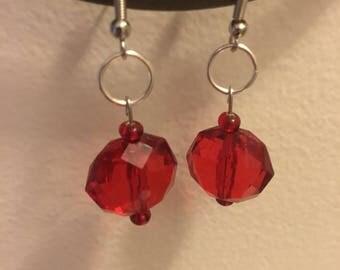 Red acrylic bead earrings