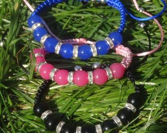 adjustable bracelet with Rhinestone spacer beads