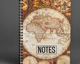 World Map Notebook Notepad World Writing Journal Vintage Notebook Globe Notepad Notebook A5 Spiral Notepad Earth Notebook Gift Diary Journal