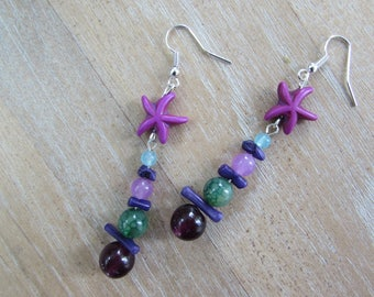"""Starfish"" Purple-turquoise-green natural stone earrings"