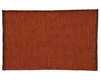 Burgundy Braided Jute Rug