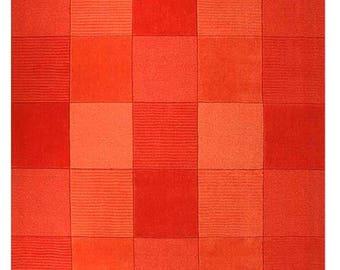 Tera Square Pattern Orange/Red Rug