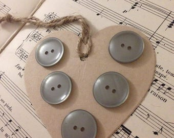 Set of 5 large grey buttons