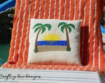 Sunset and Palm Tree Pillows