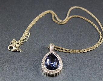 Vintage RMN Amnethyst Teardrop and Clear Rhinestone Pendant Necklace