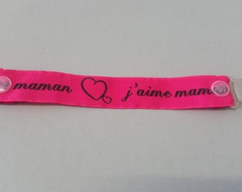 """Pacifier Ribbon """"I love MOM"""" - pink Fuschia and black"""
