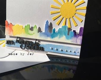 "card ""a ray of sunshine"" watercolor city silhouette"