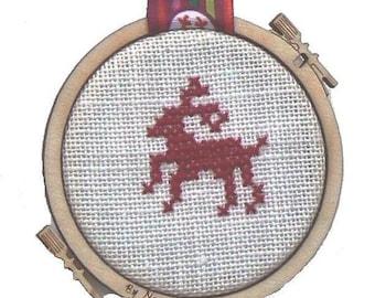 Mini reindeer cross stitch embroidery hoop