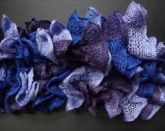 Blue and purple ruffled scarf