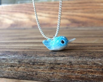 Blue narwhal necklace