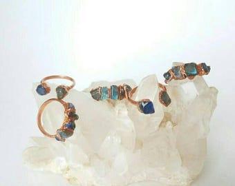 Labradorite Copper Electroformed Rings/Raw Labradorite/Healing Stone