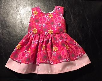 Peace and Polka Dots American Girl Doll Dress